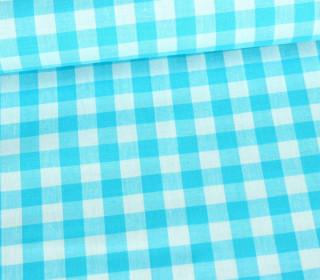 Baumwollstoff - Kariert - 150cm - Himmelblau/Weiß