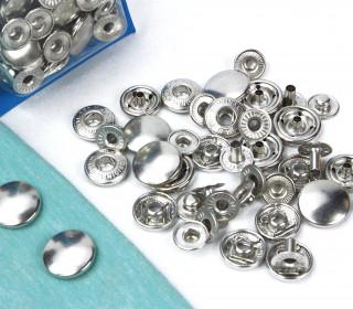 10 Nähfrei Druckknöpfe - Nachfüllset - Anorak - 15mm - Silber