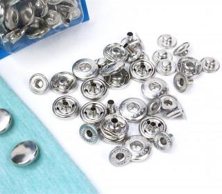 10 Nähfrei Druckknöpfe - Nachfüllset - Anorak - 12mm - Silber