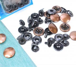 10 Nähfrei Druckknöpfe - Nachfüllset - Anorak - 15mm - Bronze