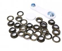 15 Ösen mit Scheiben - Eyelets - Bronze - 11mm