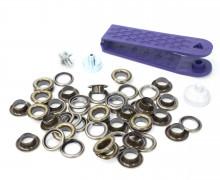 24 Ösen mit Scheiben - Eyelets - Bronze - 8mm