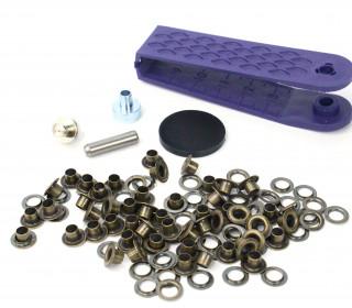 50 Ösen mit Scheiben - Eyelets - Bronze - 4mm