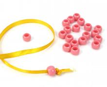 20 Kunststoffperlen - Durchzug 7x10mm - Rosa