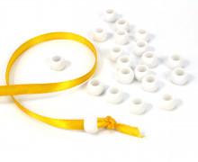 20 Kunststoffperlen - Durchzug 7x10mm - Weiß