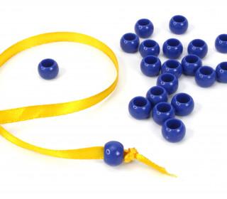 20 Kunststoffperlen - Durchzug 7x10mm - Royalblau
