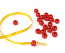 20 Kunststoffperlen - Durchzug 7x10mm - Rot