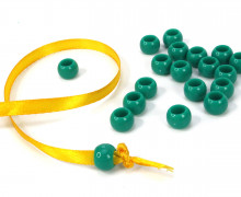 20 Kunststoffperlen - Durchzug 7x10mm - Meergrün