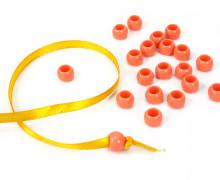 20 Kunststoffperlen - Durchzug 7x10mm - Apricot