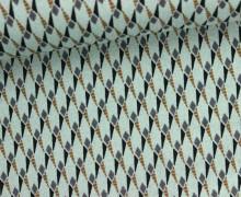 Fashionstoff - leicht elastisch - Rauten - Dreiecke - Grüngrau