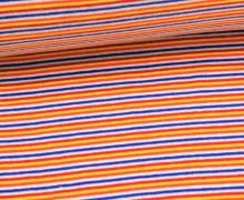 Bündchen - Ringelbündchen - Schmale Streifen - Blau/Rot/Orange