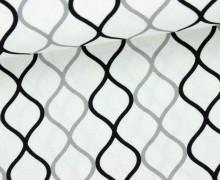 Dekostoff - Feste Baumwolle - Linien - Wellen - Retro - Weiß