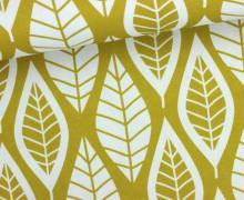Dekostoff - Feste Baumwolle - Blätter - Leaves - Ocker