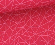 Dekostoff - Feste Baumwolle - Linien - Dreiecke - Grafisch - Dreiecke - Pink