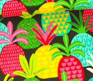 Stoff - Pineapple Fields - Tutti Frutti - Maude Asbury - Blend Fabrics - Dunkelbraun
