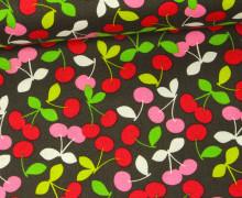 Stoff - Cherry Jubilee - Tutti Frutti - Maude Asbury - Blend Fabrics - Dunkelbraun