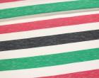 Fashionstoff - Breite Streifen - Mehrfarbig - Meliert - Grün/Rot