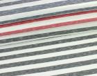Fashionstoff - Schmale Streifen - Meliert - Rot/Weiß