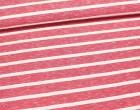 Fashionstoff - Mittlere Streifen - Meliert - Rot/Weiß