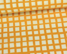 Stoff - Geometrie - Kleine - Quadrate - Senfgelb