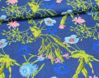 Jeans - Jeansstoff - leicht elastisch - Blütentraum - Blau
