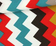 Dekostoff - Feste Baumwolle - Zickzack Streifen - Senkrechte Streifen - Weiß