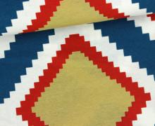 Dekostoff - Feste Baumwolle - Zickzack Quadrate - Weiß