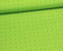 Stoff - Pünktchen - Blümchen - Apfelgrün