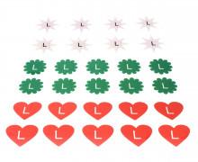 1 Bogen Bügelbilder - Gr. L - Sterne - Herzen - Größenlabel
