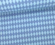 Jersey - Grafisch - Kleine Rauten - Pastellblau/Hellblau
