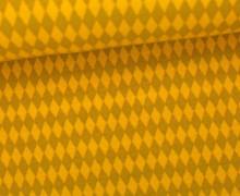 Jersey - Grafisch - Kleine Rauten - Ocker/Senfgelb