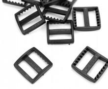 10 Schieber aus Kunststoff für 25mm Band - Eckig - Schwarz