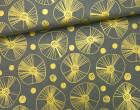 Stoff - Punkte - Kreise - Linien - Black and White - Sarah Watts - Gold/Grau
