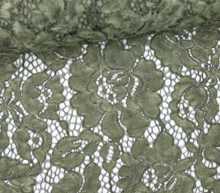 Stoff - Spitze - Leicht Elastisch - Blumen - Olivgrün