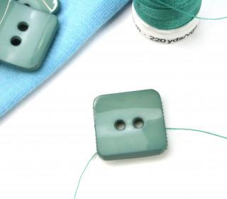 1 Knopf - 18mm - Eckig - Meergrün