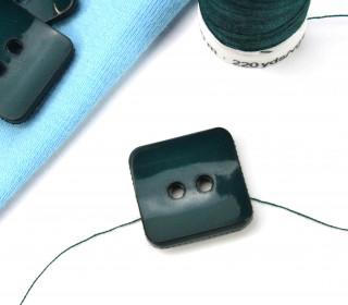 1 Knopf - 18mm - Eckig - Tannengrün