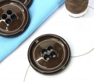 1 Knopf - 33mm - Rund -  4 Löcher - Dunkelbraun