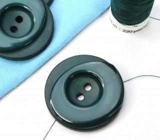 1 Knopf - 33mm - Rund - Stufen - Tannengrün