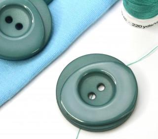 1 Knopf - 33mm - Rund - Stufen - Meergrün