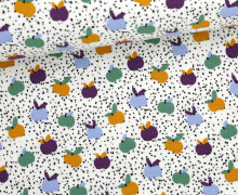 Viskose Jersey - Kleine Äpfel - Kleine Sprenkel - Grün/Aubergine/Weiß