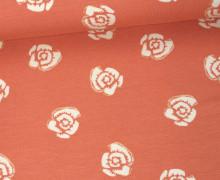 Viskose Jersey - Blumen - Blüten - Apricot