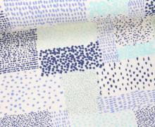 Viskose Jersey - Rechtecke - Kleine Punkte - Blau/Weiß