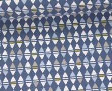 Jersey - Rauten - Kleine Dreiecke - Grafisch - Taubenblau