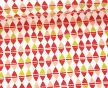 Jersey - Rauten - Kleine Dreiecke - Grafisch - Weiß