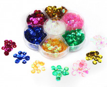 Set Pailetten - 6mm - DIY - gewölbt - 7 Farben