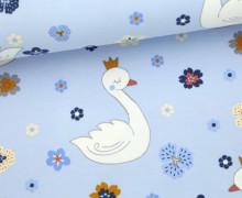 Jersey - Flower Swan - Schwan - Blumen - Hellblau