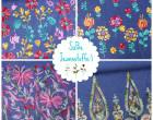 Jeansstoff - Blumen - Ranken - Borte - Jeansblau