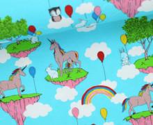Jersey - Unicorn Wonderland - Einhörner - Regebögen - Luftballons - Häschen - Hellblau
