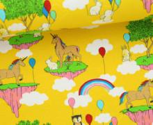 Jersey - Unicorn Wonderland - Einhörner - Regebögen - Luftballons - Häschen - Gelb