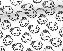 Jersey - Totenköpfe - Blumen - Skulls - Flowers - Weiß
